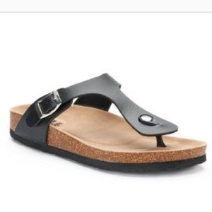 Mudd Pearl Blue Thong Buckle Footbed Sandals